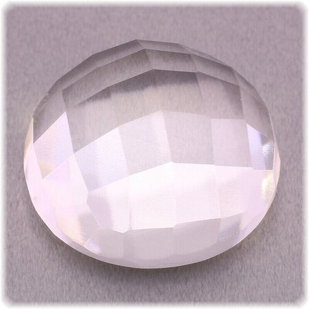 Bergkristall / Checkertop / facettiert / rund 17,2 mm / 20 ct.