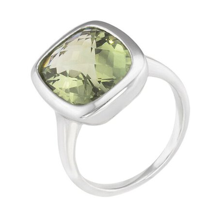 Prasiolith Ring facettiert Silber 925