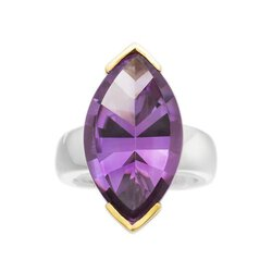 Amethyst Ring facettiert Fancy-Cut Silber 925 / Gold 18K...